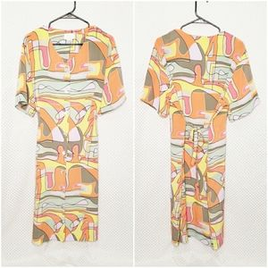Vintage Voir Collection Abstract Print Midi Dress